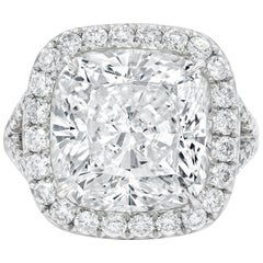 GIA Certified 8.03 Carat Cushion Cut Diamond Ring