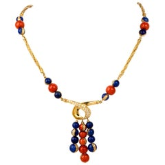 Diamond Coral Lapis Bead Yellow Gold Statement Necklace