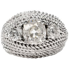 Vintage Diamond Three-Stone Twisted Platinum Cocktail Dome Ring