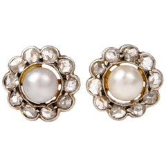 Antique Flower Pearl Diamond Gold Stud Earrings
