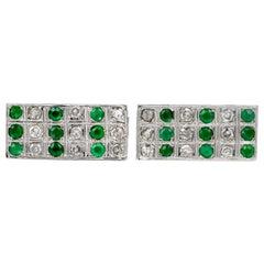 Diamond Emerald Rectangle Platinum Cufflinks