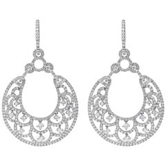 4.68 Carat Diamond White Gold Open-Work Chandelier Earrings
