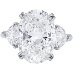 GIA Certified 7.01 Carat I-VS2 Oval Diamond Ring