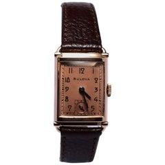 Art Deco Bulova WW2 14 Karat Gold, 21 Jewels, Gents Wrist Watch, Newly Serviced