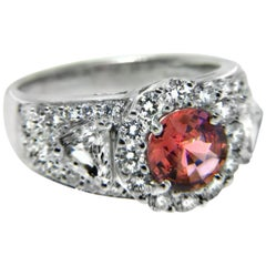 1.30 Carat Pink Sapphire and Diamond Platinum Engagement Ring
