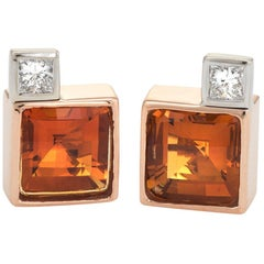 Vintage Citrine Diamond Square Stud Earrings 18 Karat Gold Estate Fine Jewelry