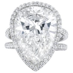 15.01 Carat F-SI2 Pear Shaped Diamond Ring