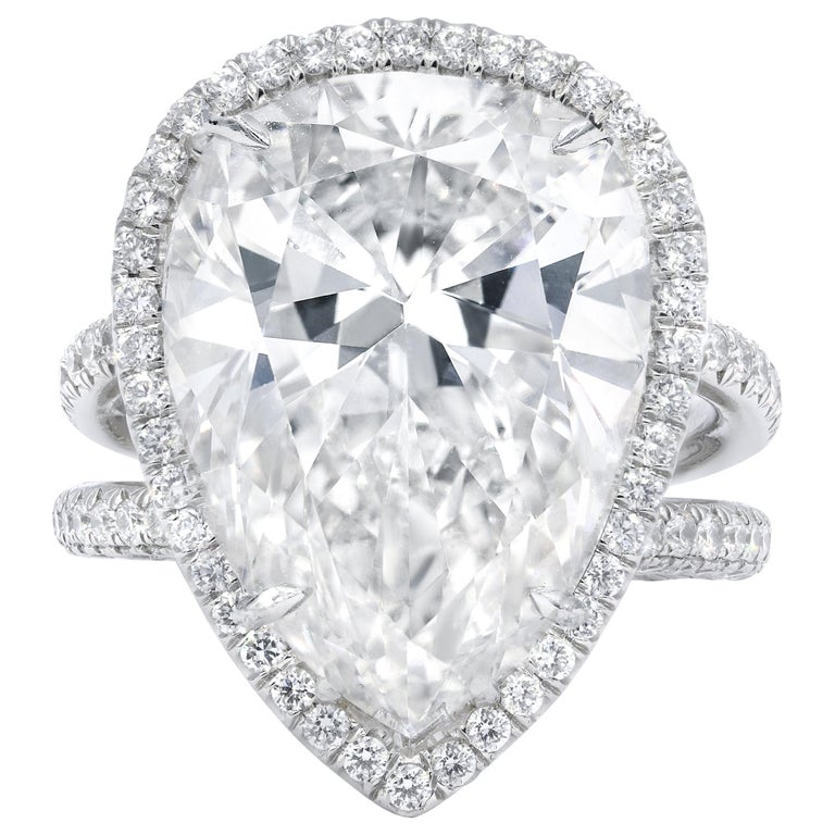 15.01 Carat F-SI2 Pear Shaped Diamond Ring For Sale
