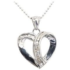 14 Karat Diamond Baguette Heart Pendant
