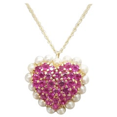 14 Karat Ruby and Pearl Heart Pendant