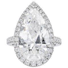 8.66 Carat Pear Shaped Diamond Engagement Ring