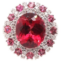 5.57 Carat Oval Rubellite, Pink Tourmaline, and Diamond Ring