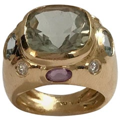 Bonheur Ring, Green Amethyst, Amethyst and Blue Topaz Yellow Gold Domed Ring