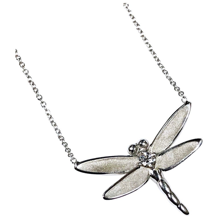 0eeda9aa7 Tiffany & Co. White Gold and Diamond Butterfly Pendant Necklace For Sale
