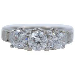 Diamond Engagement Ring Three-Stone Round 3.51 Carat, 14 Karat White Gold