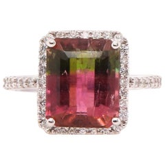 5.1 Carat Bicolored Tourmaline and Diamond Ring