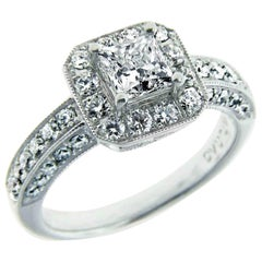 GIA Certified .71 Carat Princess Cut Diamond Platinum Engagement Ring