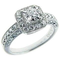 GIA Zertifizierter ,71 Karat Prinzessinnenschliff Diamant Platin Verlobungsring
