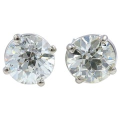 Old Cuts Diamond Solitaire Stud Earrings 1.77 Carat 14 Karat White Gold