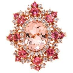 2.23 Carat Pink Morganite, Pink Tourmaline and Diamond Ring