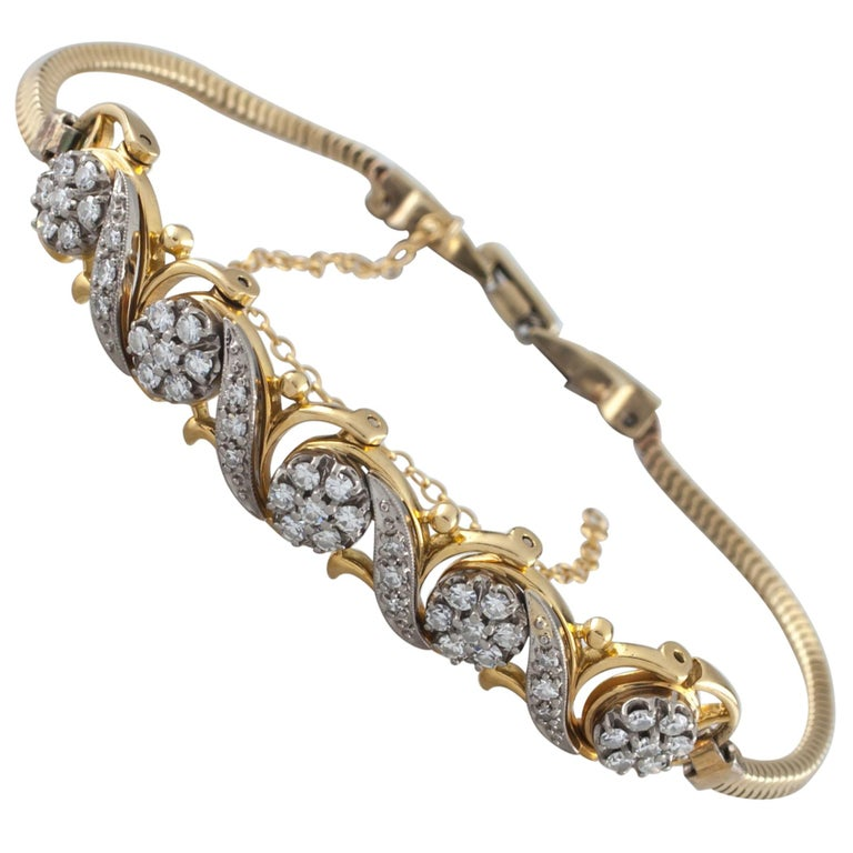 Jabel Add-A-Link Diamond 5 Link and Snake Chain 18 Karat Yellow Gold Bracelet For Sale