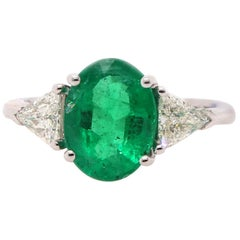 3.02 Carat Emerald and Diamond Ring