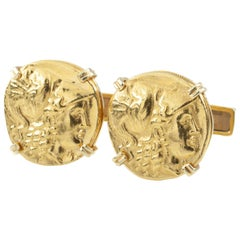 Emis Ancient Gold Coin Re-Strike 18 Karat Yellow Gold Cufflinks Set