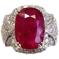 EGL Certified 18 Karat White Gold Cushion Cut Ruby and Diamond Ring