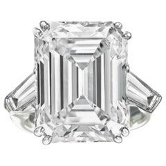 GIA Certified 11.34 Carat H-VS1 Emerald Cut Diamond Ring
