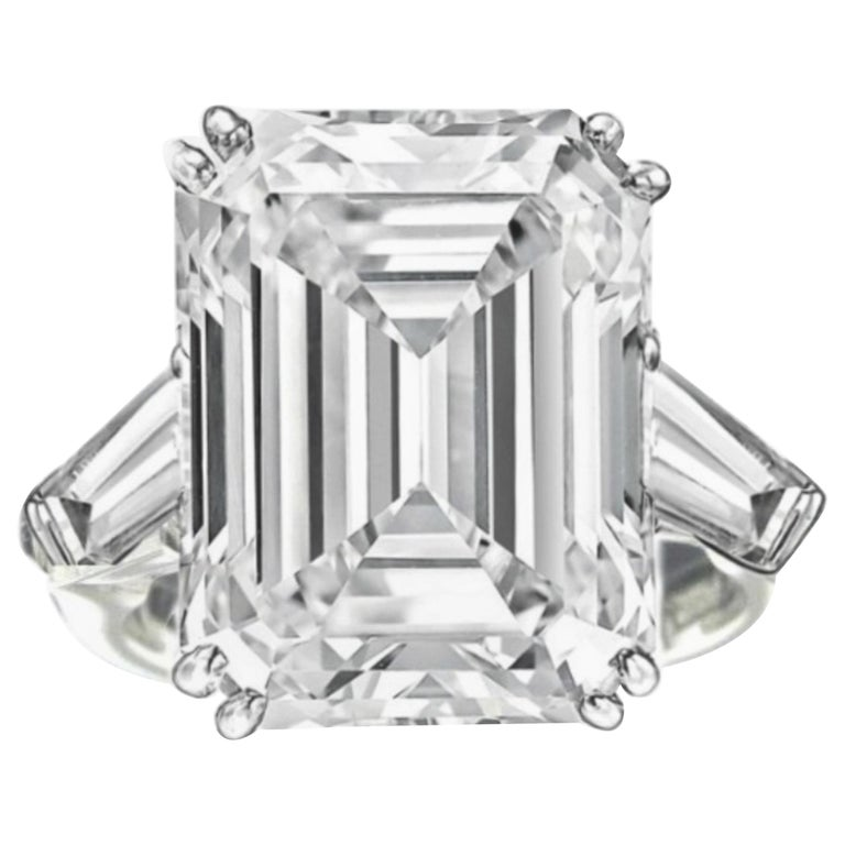 GIA Certified 11.34 Carat H-VS1 Emerald Cut Diamond Ring For Sale