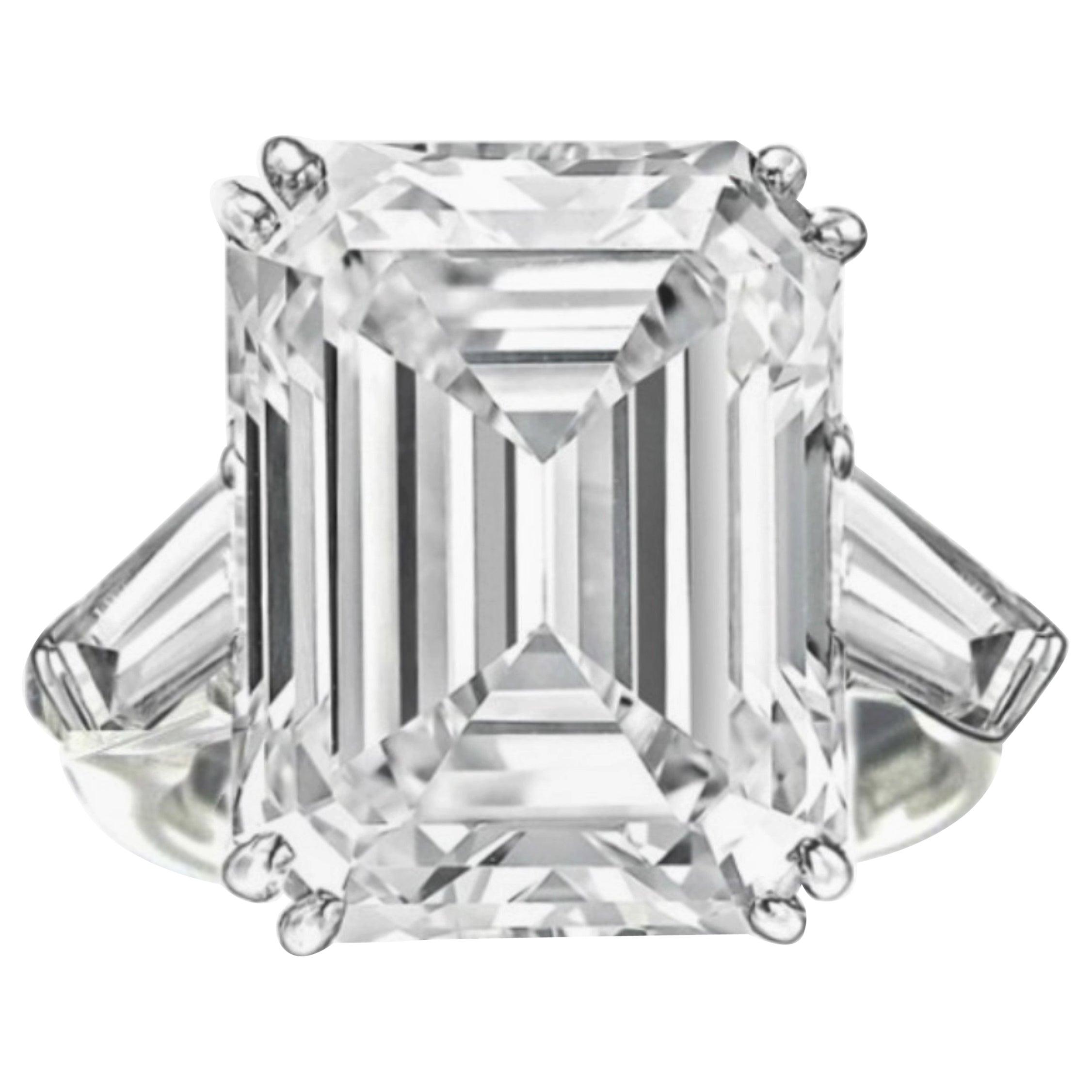 GIA Certified 11.34 Carat H-VS1 Emerald Cut Diamond Ring