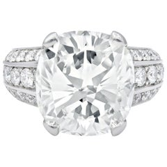 Estate 10.73 Carat Gia Certified Cushion Cut Diamond Ring