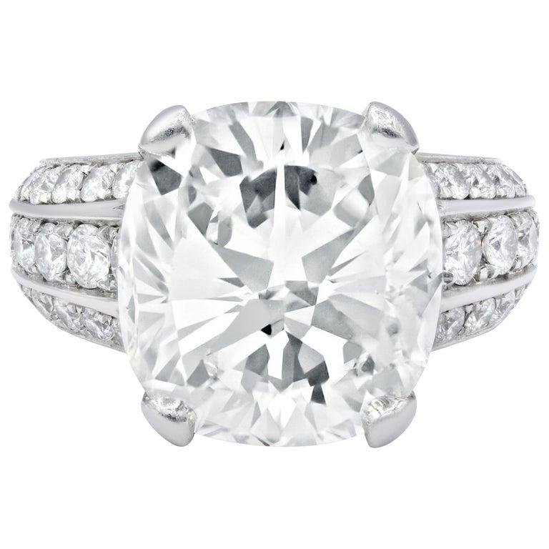 Estate 10.73 Carat Gia Certified Cushion Cut Diamond Ring For Sale