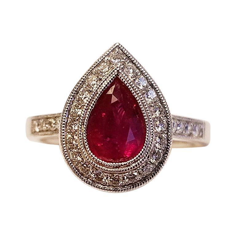 14 Karat White Gold Pear Cut Ruby and Diamond Ring