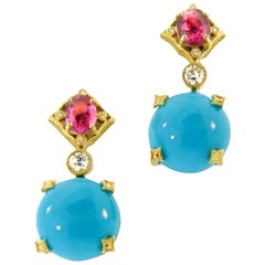 17.88 Carat Sleeping Beauty Turquoise and 2.25 Carat Pink Sapphire Earrings