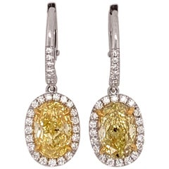 Oval Platinum Earrings 3.51 Carat GIA Natural Fancy Intense Yellow and Colorless