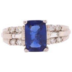 2 Carat Cushion Cut Sapphire and Diamond Ring