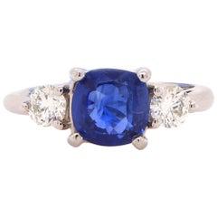 2.47 Carat Sapphire and Diamond Ring