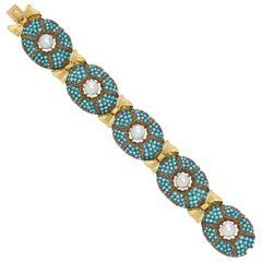 Buccellati Turquoise Pearl Gold Bracelet