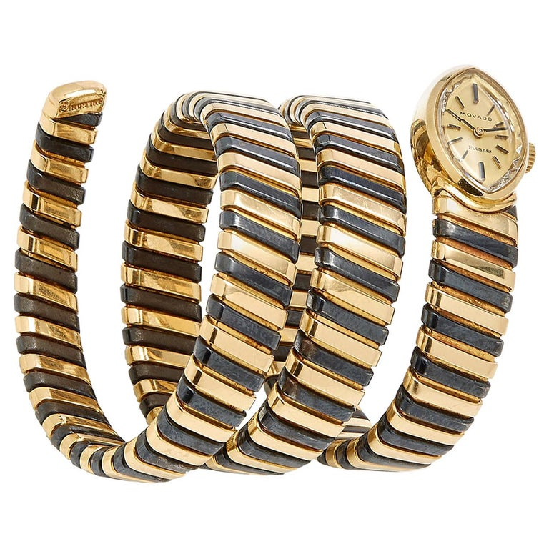 Bulgari Rare Black and Yellow Gold Tubogas Ladies Watch For Sale