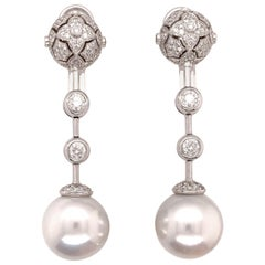 2.25 Carat Natural Round Brilliant Diamond and South Sea Cultured Pearl Earrings