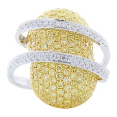 2.37 Carat Total Fancy Yellow Diamond and White Diamond Two-Tone Cocktail Ring