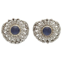 Diamond and Cabochon Sapphire Earclips