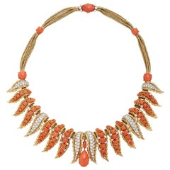 Retro French Diamond Coral Gold Necklace
