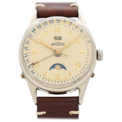 Vintage Angelus Day-Date Stainless Steel Watch, 1950