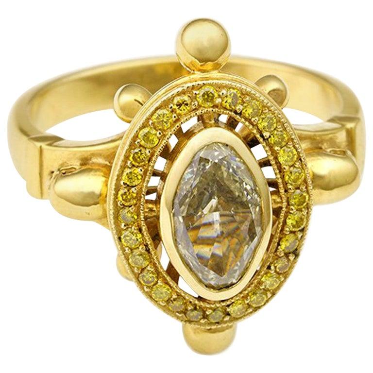Diamond and Skulls Victorian Gothic Ring