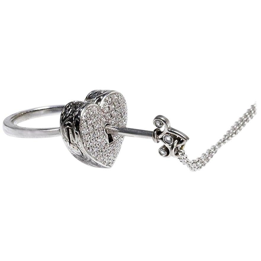 Diamond Heart Locket and Key Victorian Poison Ring in 18 Karat Gold and Diamonds