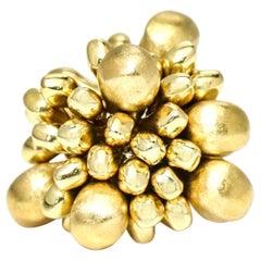 18 Karat Yellow Gold Bead Cluster Statement Ring