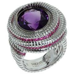 Amethyst Ruby 18 Karat White Gold Ring