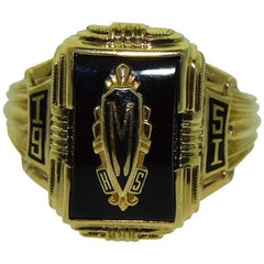 Ladies 10 Karat Solid Yellow Gold Art Deco Style Signet Ring, Dated 1951
